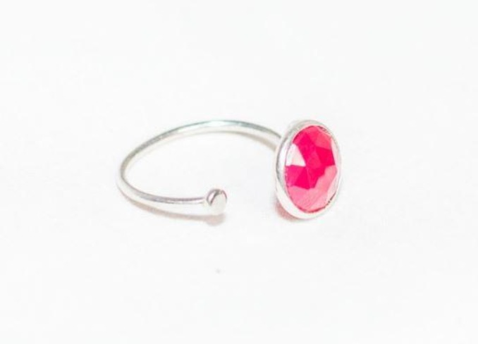 Sterling silver pink Chalcedony ring