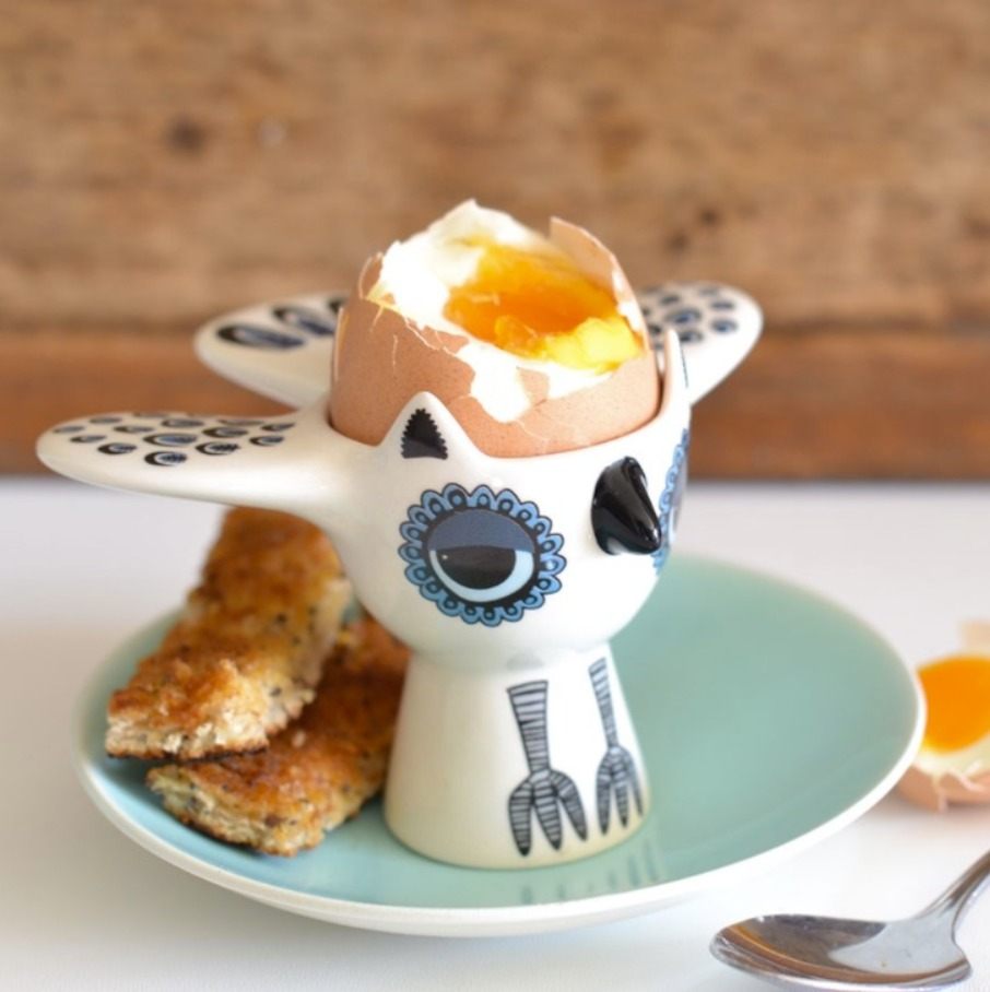 Hannah Turner blue owl egg cup