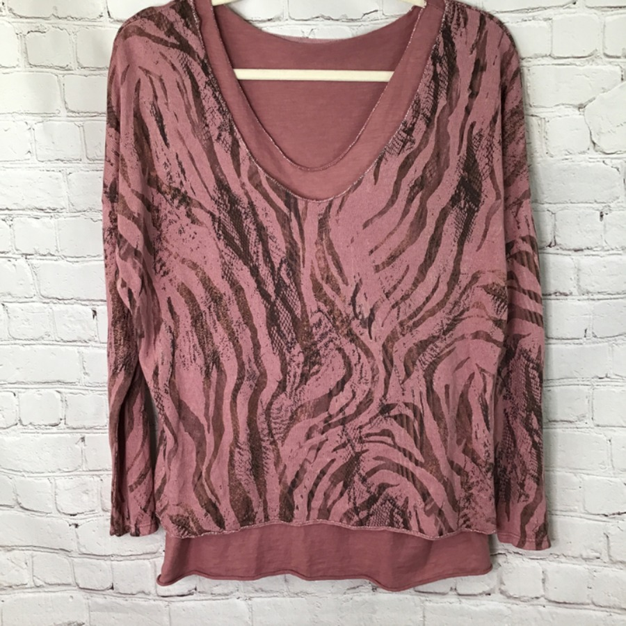 Fine knit two piece layered animal print jumper