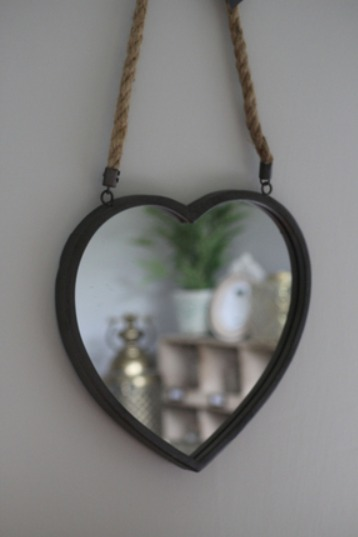 Rustic heart shape mirror with rope
