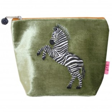 Small Dancing Zebra velvet cosmetic pouch
