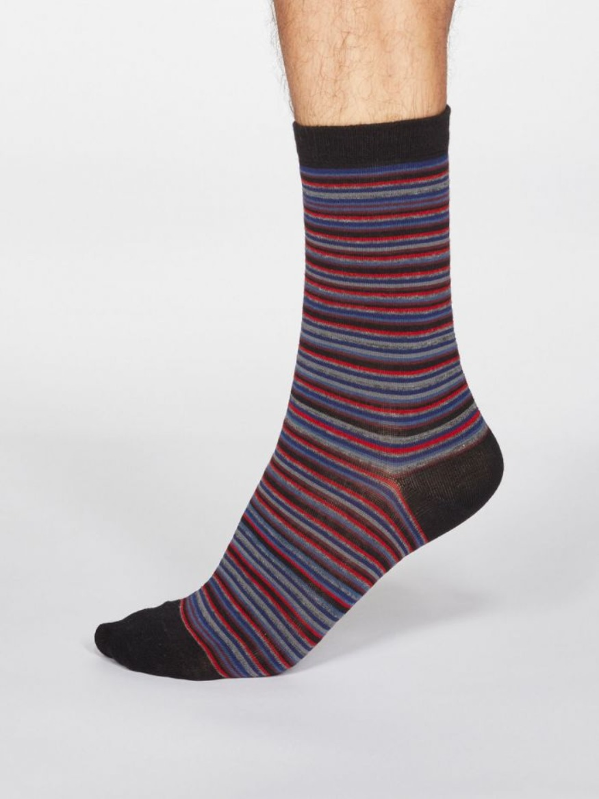 Thought Men's Jacob stripe organic cotton socks