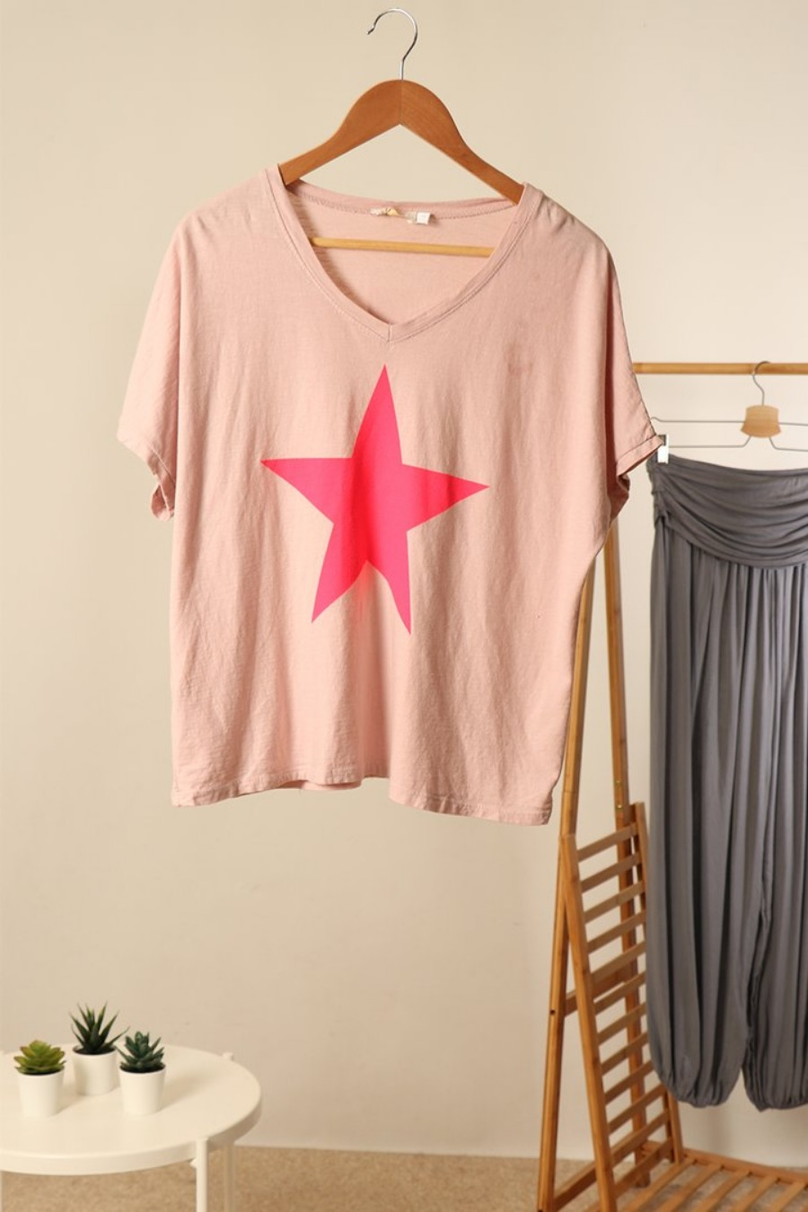 Cotton slouch fit star t shirt