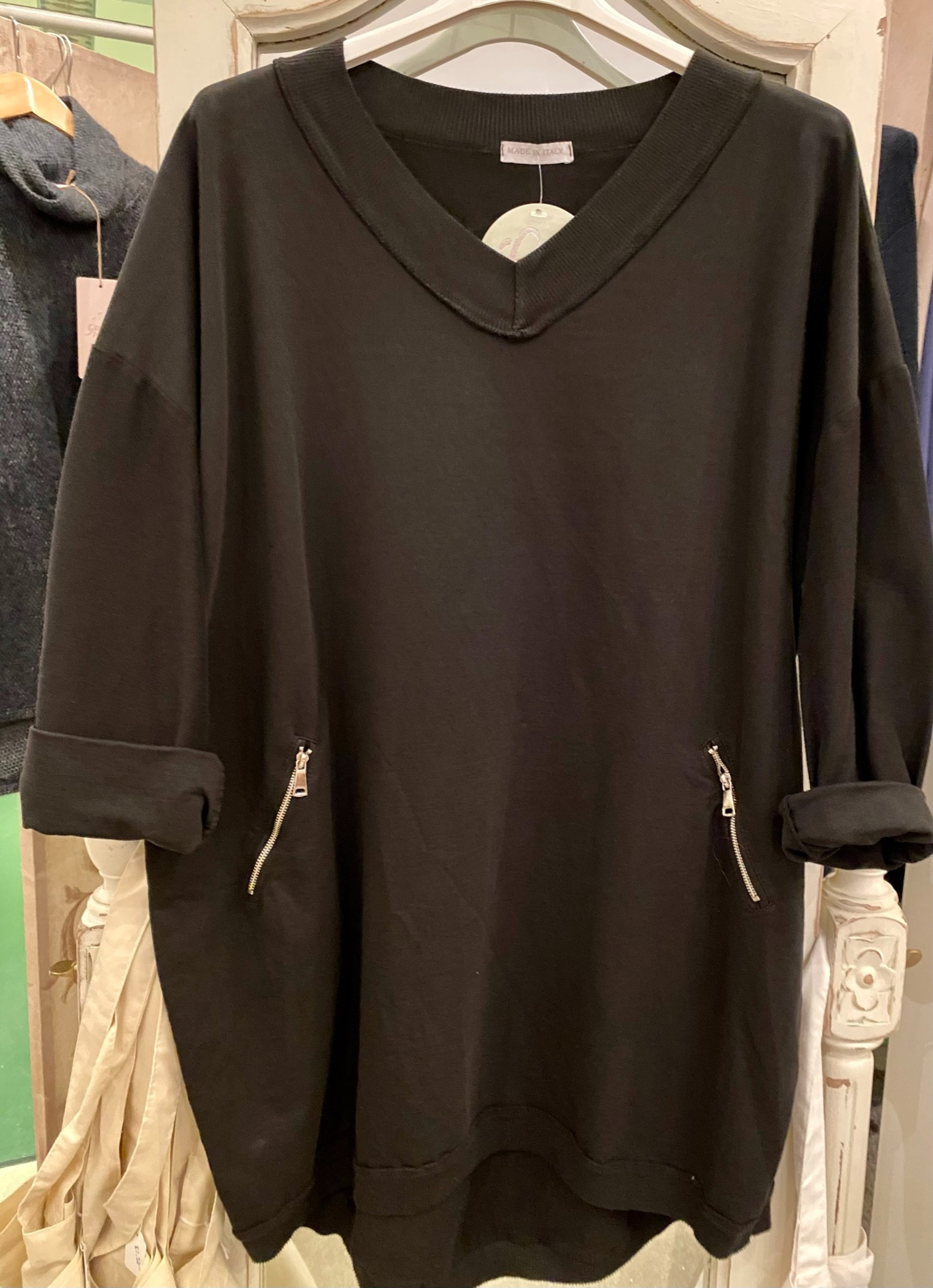 Over sized v neck sweat top