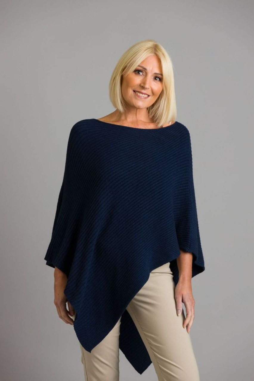 Ribbed knit navy poncho