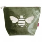 Large velvet Bee applique cosmetic bag