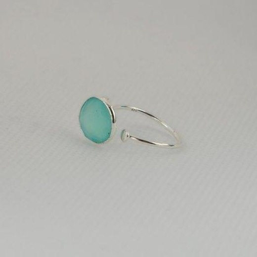 Sterling silver Aqua Chalcedony ring