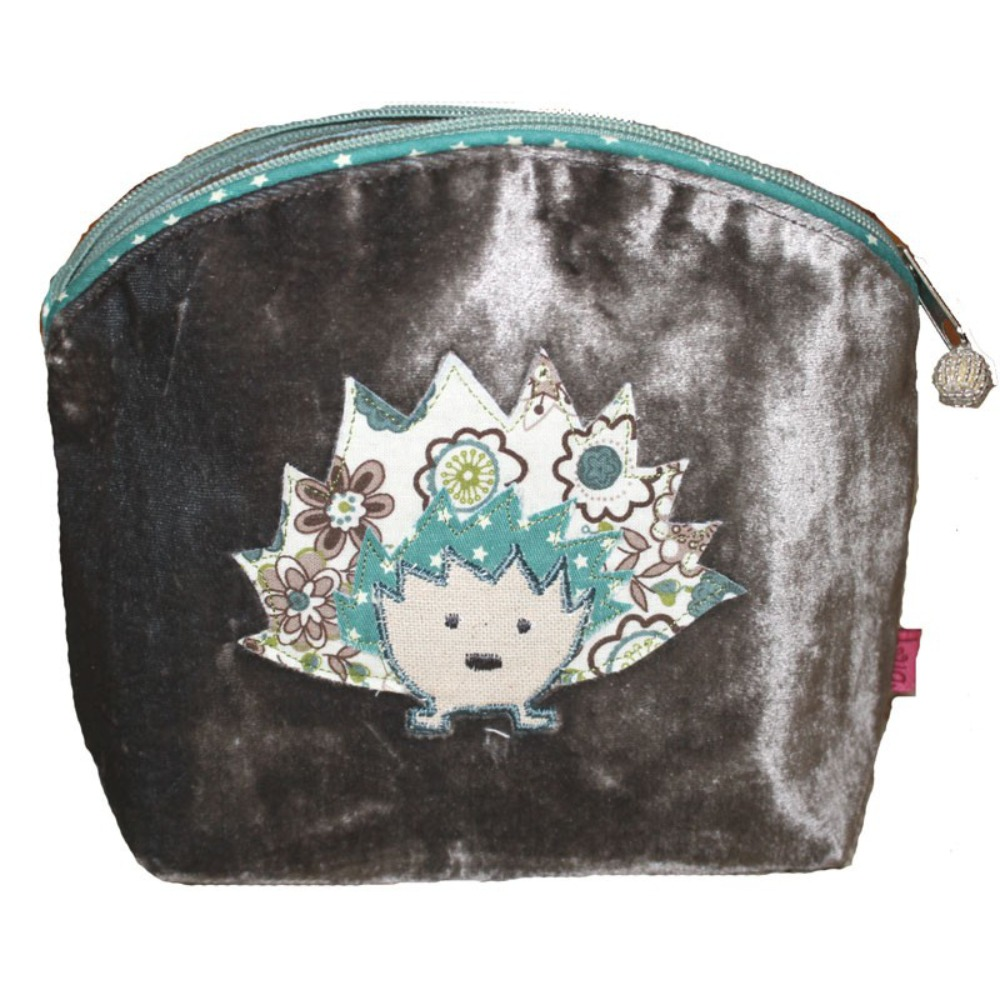 Hedgehog applique small velvet cosmetic pouch