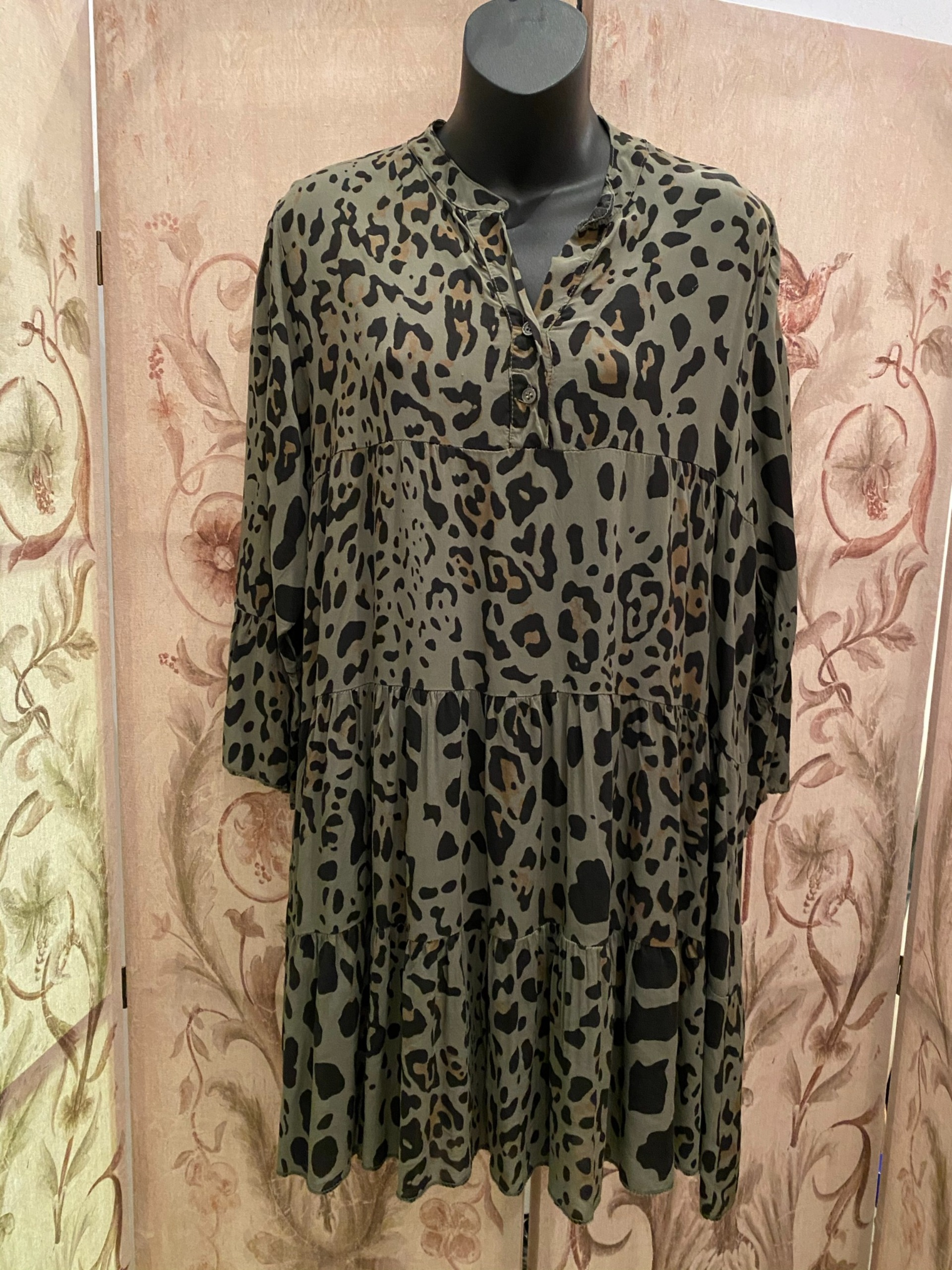 Leopard print smock tunic dress