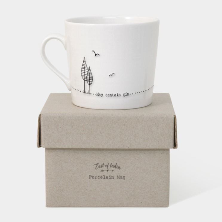 'May contain gin' gift boxed porcelain mug