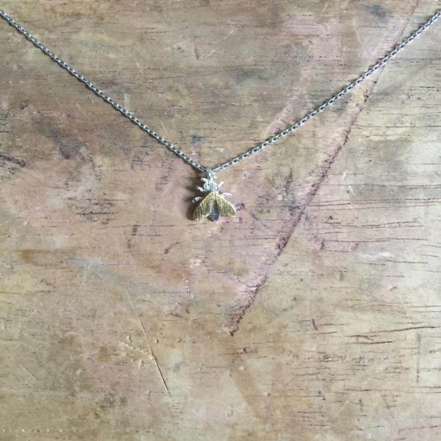 Nouveau silver bee necklace