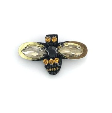 Bumble bee recycled glass brooch