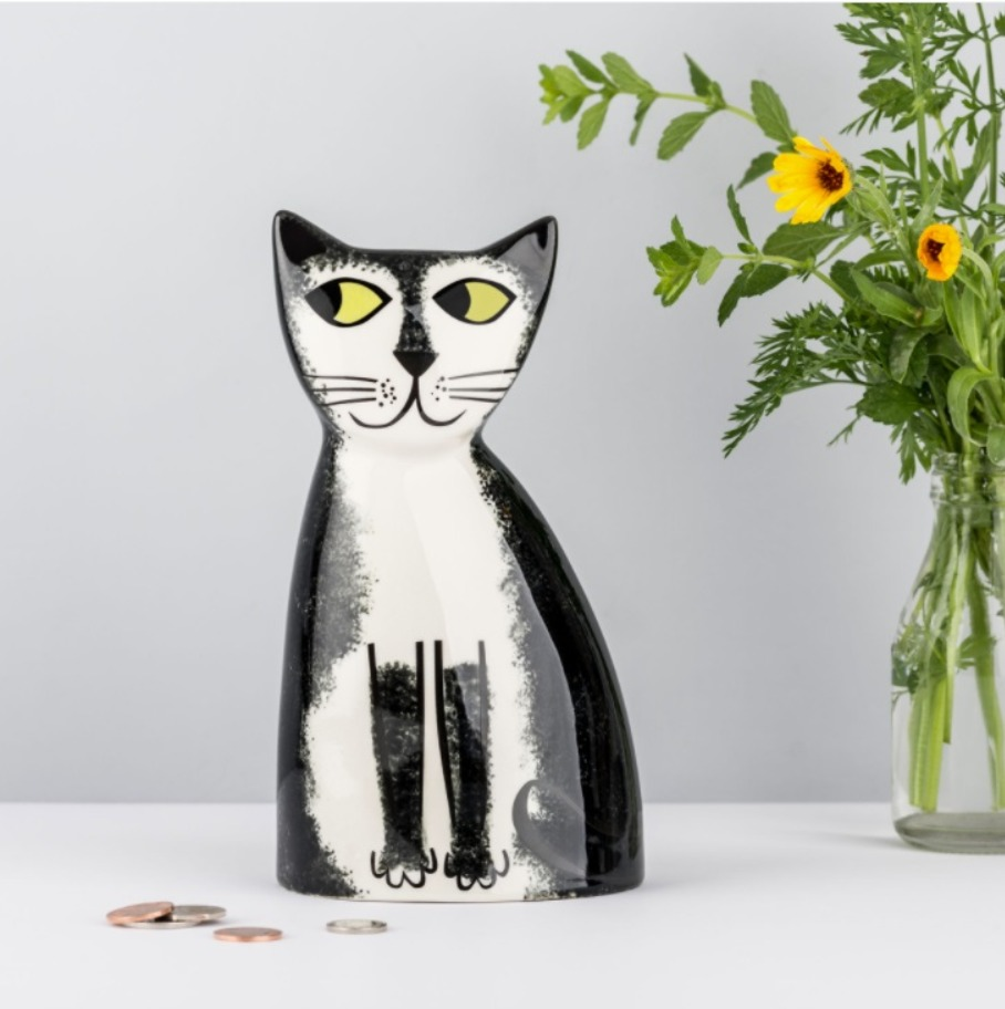 Hannah Turner handmade ceramic black & white cat money box