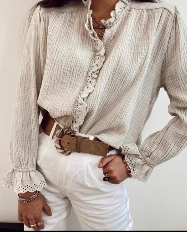 Cheesecloth broderie anglaise trimmed blouse