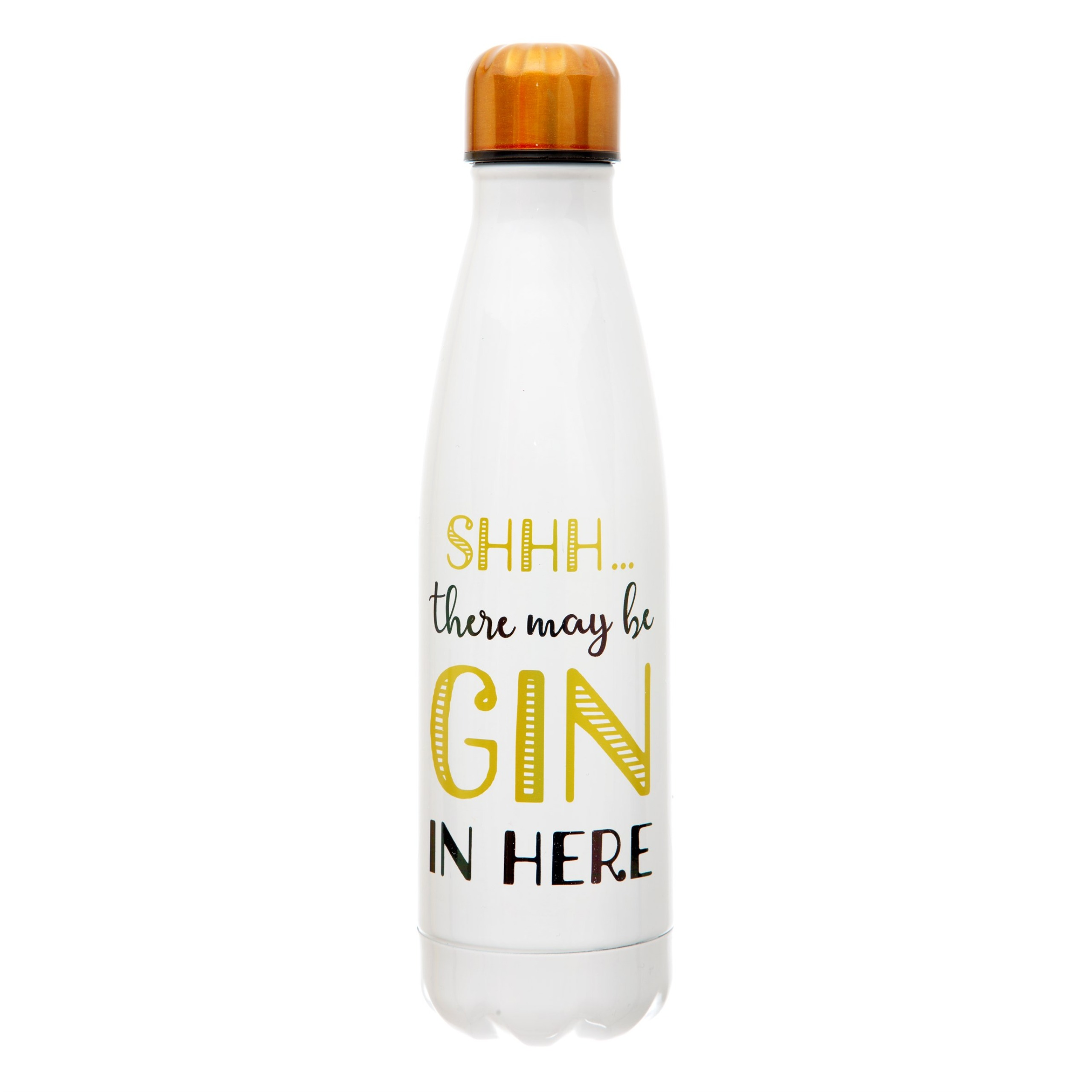 'Shhh...there may be gin in here' stainless steel reusable hot/cold drinks bottle