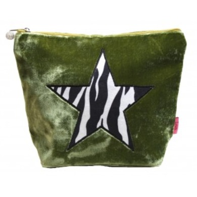 Zebra print star large velvet cosmetic bag