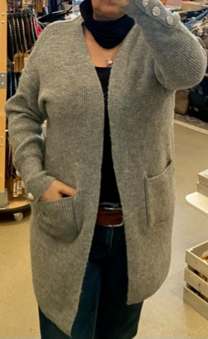 Super soft ribbed slouch cardi with diamante button detail
