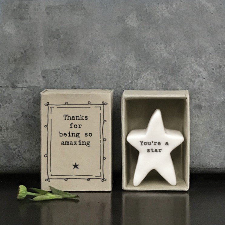 Match box porcelain star Thank you gift