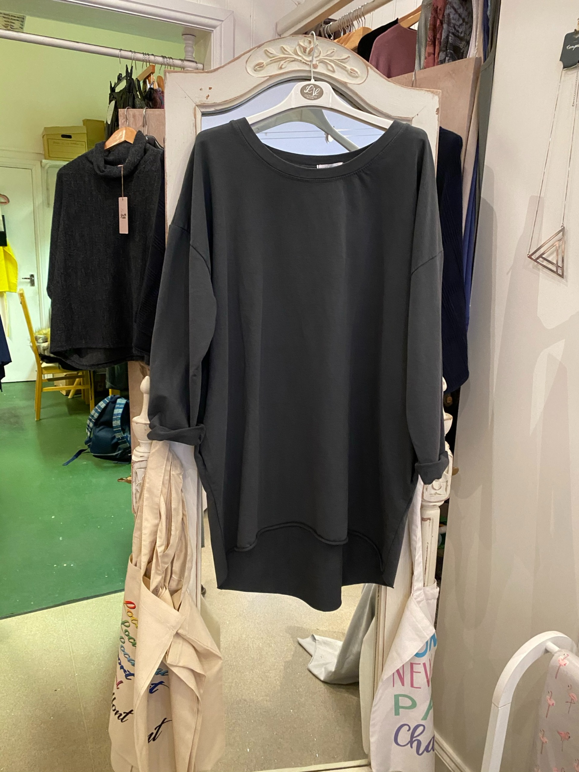 Over sized plain round neck sweat top