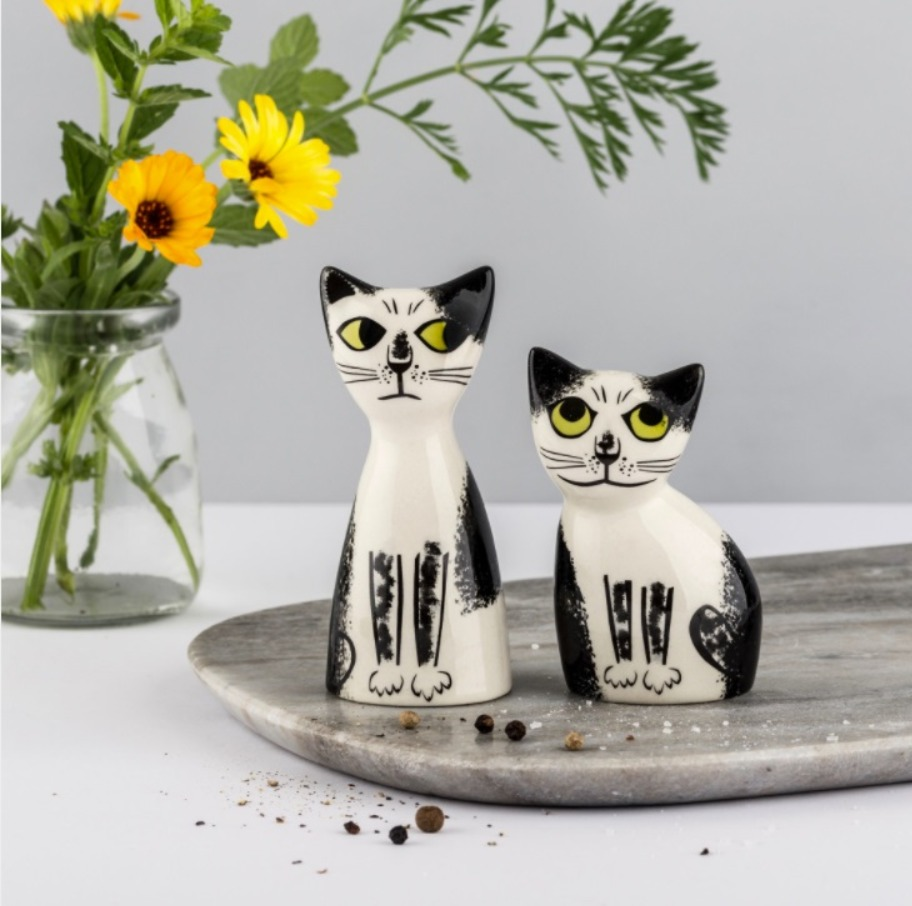 Hannah Turner black & white cat salt and pepper shakers