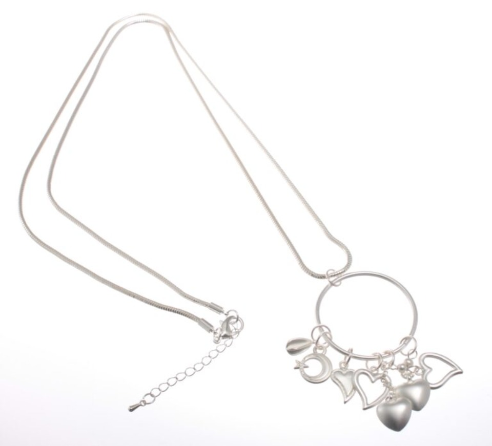 Long silver cascading hearts necklace