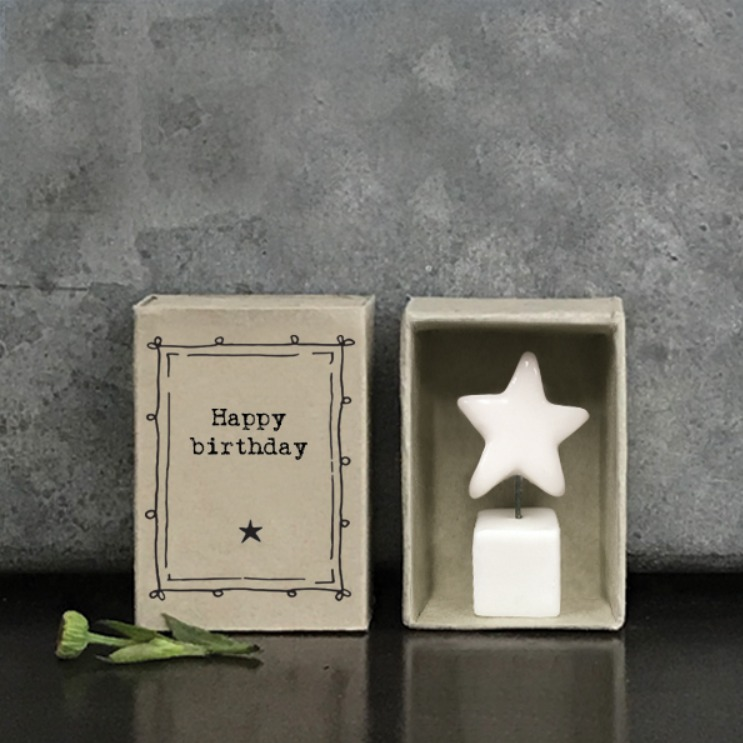 Porcelain star Happy Birthday matchbox gift