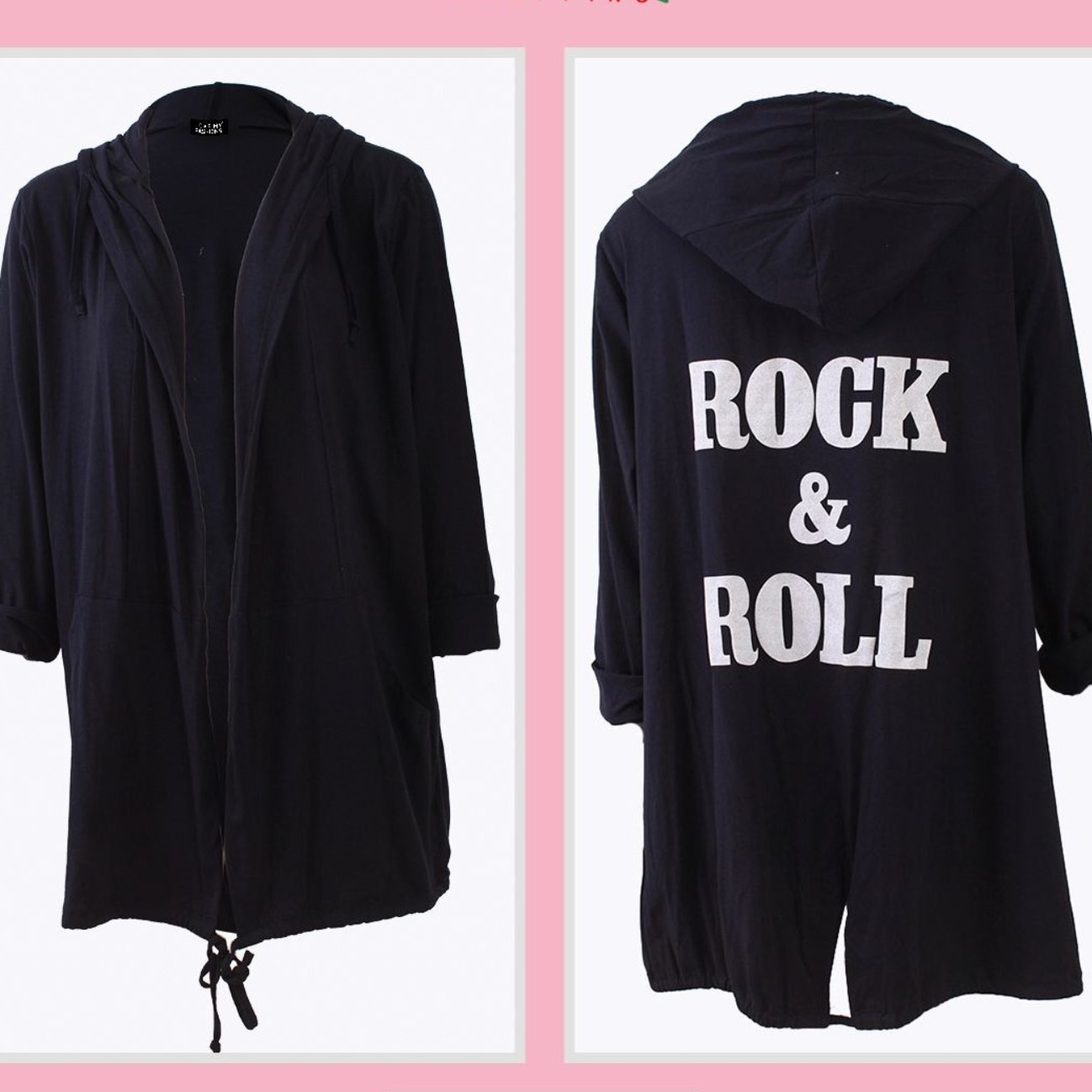 Rock & roll hooded cotton jersey jacket