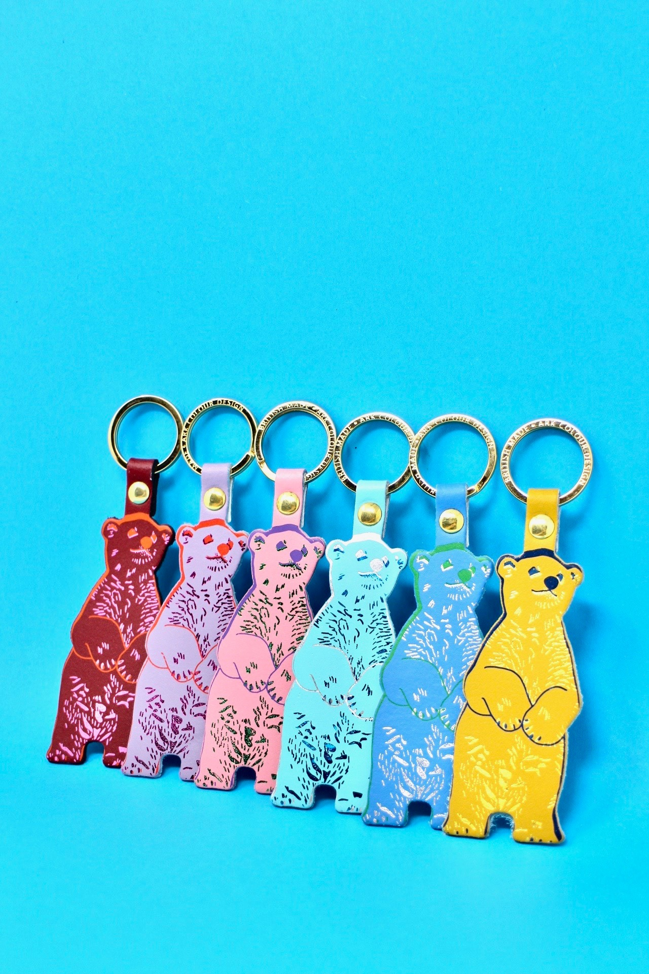 Bear leather key ring - Pink/red/lilac