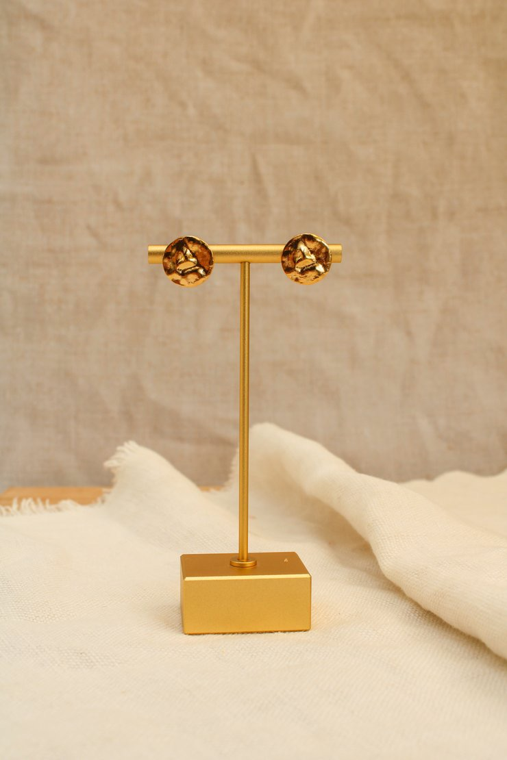 Hammered gold stud earrings