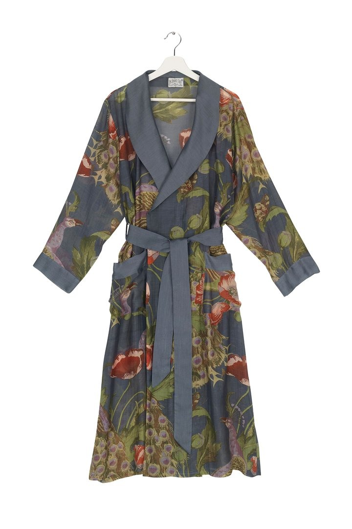 Peacock and Poppies Grey Gown