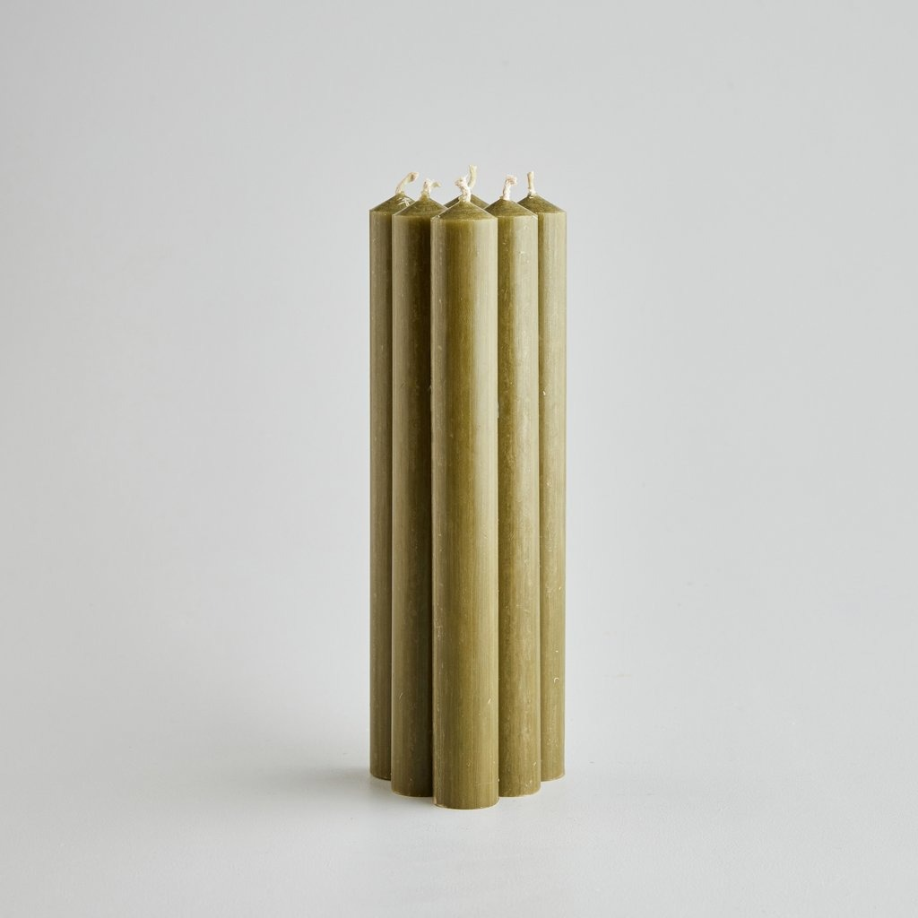 """7/8"""" Olive Green Dinner Candles Gift Pack"""