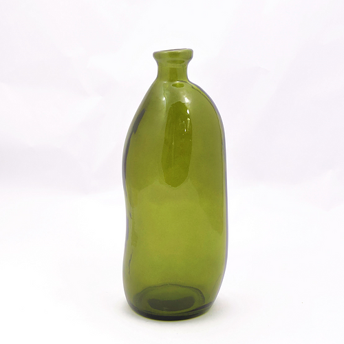 35cm Recycled Glass Tall Vase - Olive Green (Collection Only)