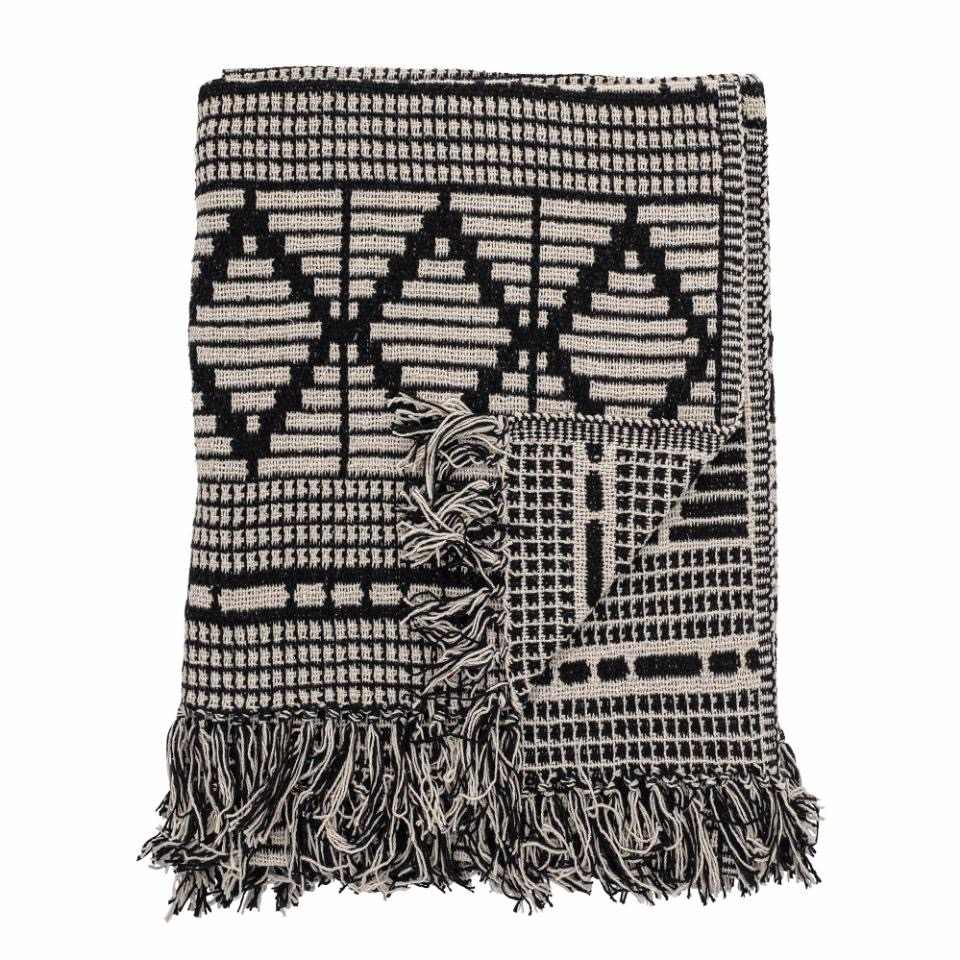 Gutte Throw, Black, Recycled Cotton