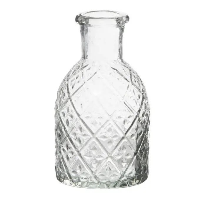 Small Glass Apothecary Candle Holder Patterned Glass