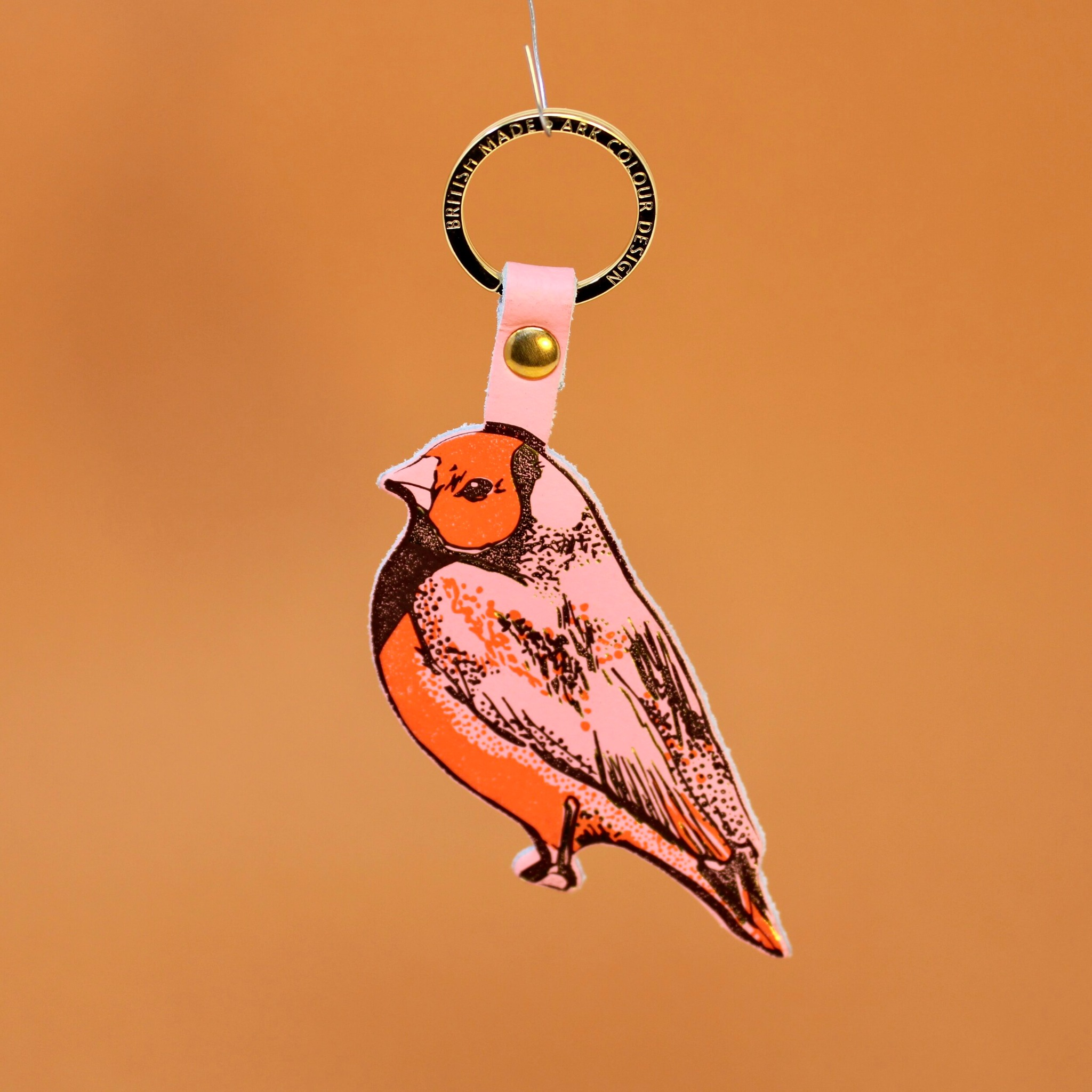 Finch leather key ring- Pink