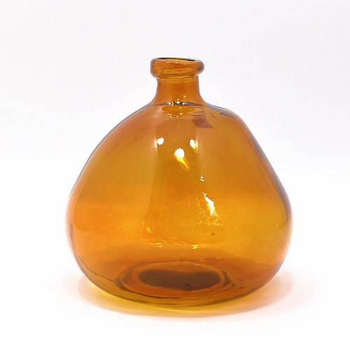 23cm Recycles Glass Vase - Amber  (Collection Only)