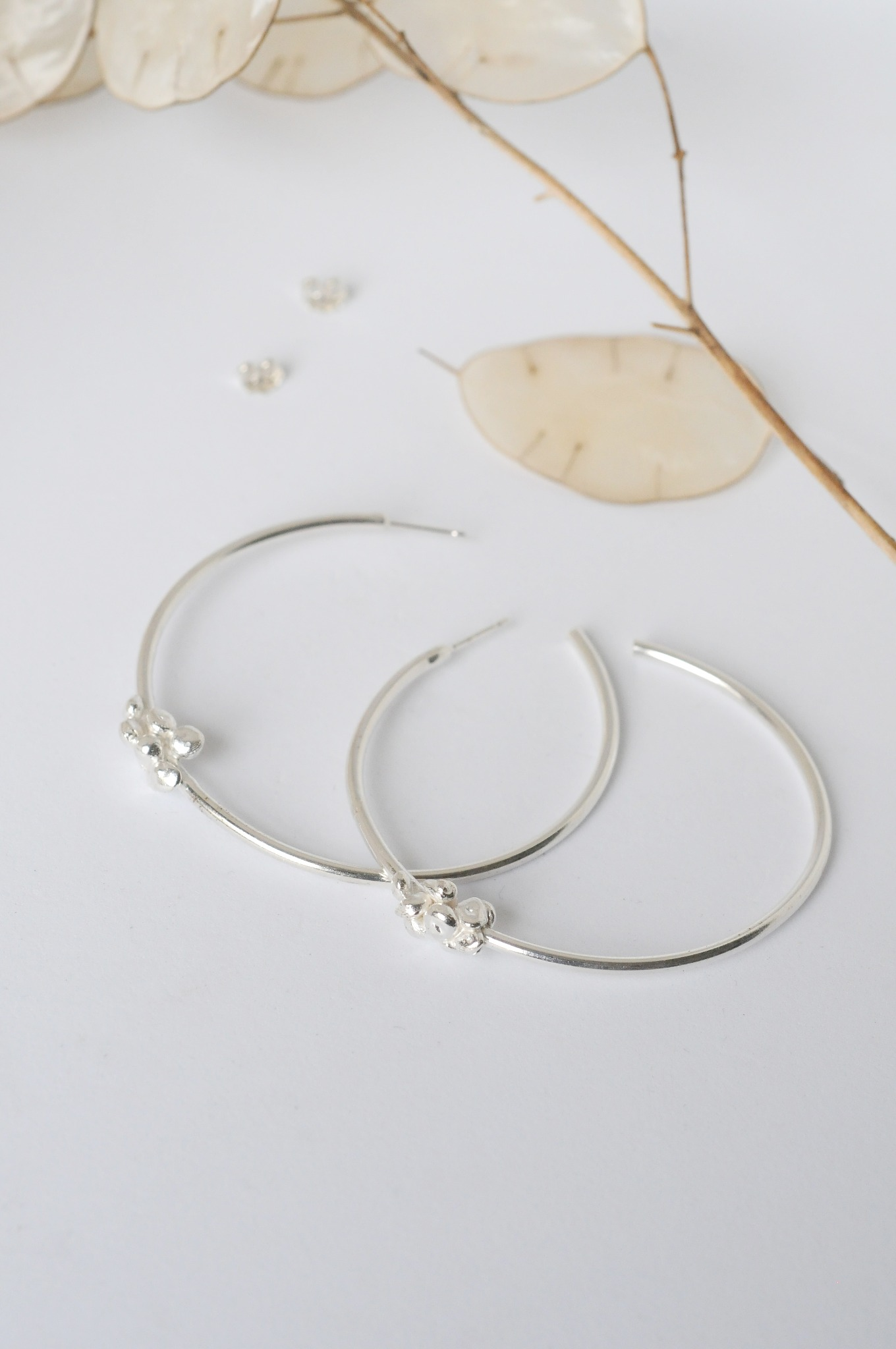 Statement Chunky Granulated Hoops Silver