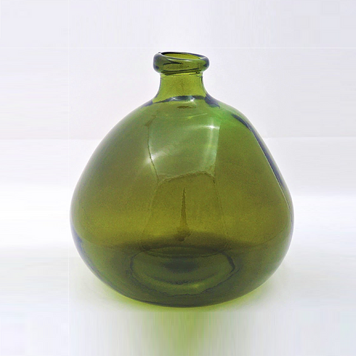 23cm Recycles Glass Vase - Olive Green ( Collection Only)