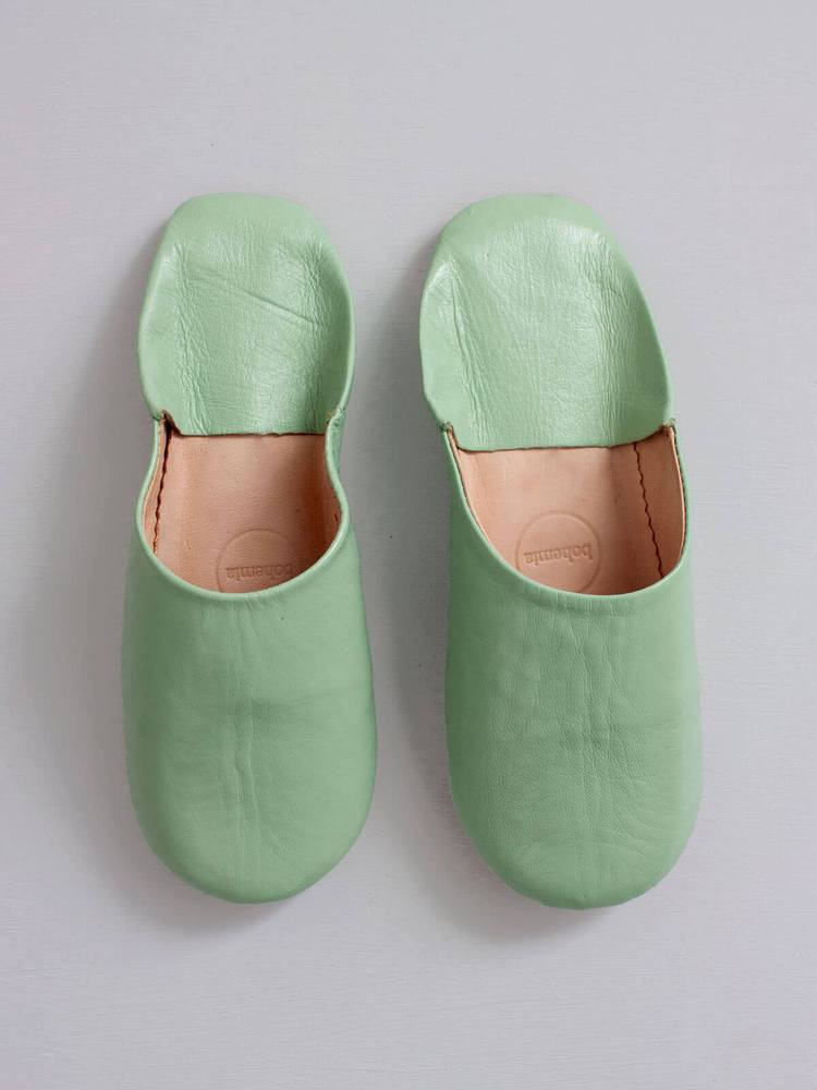 Moroccan babouche basic slippers - Sage