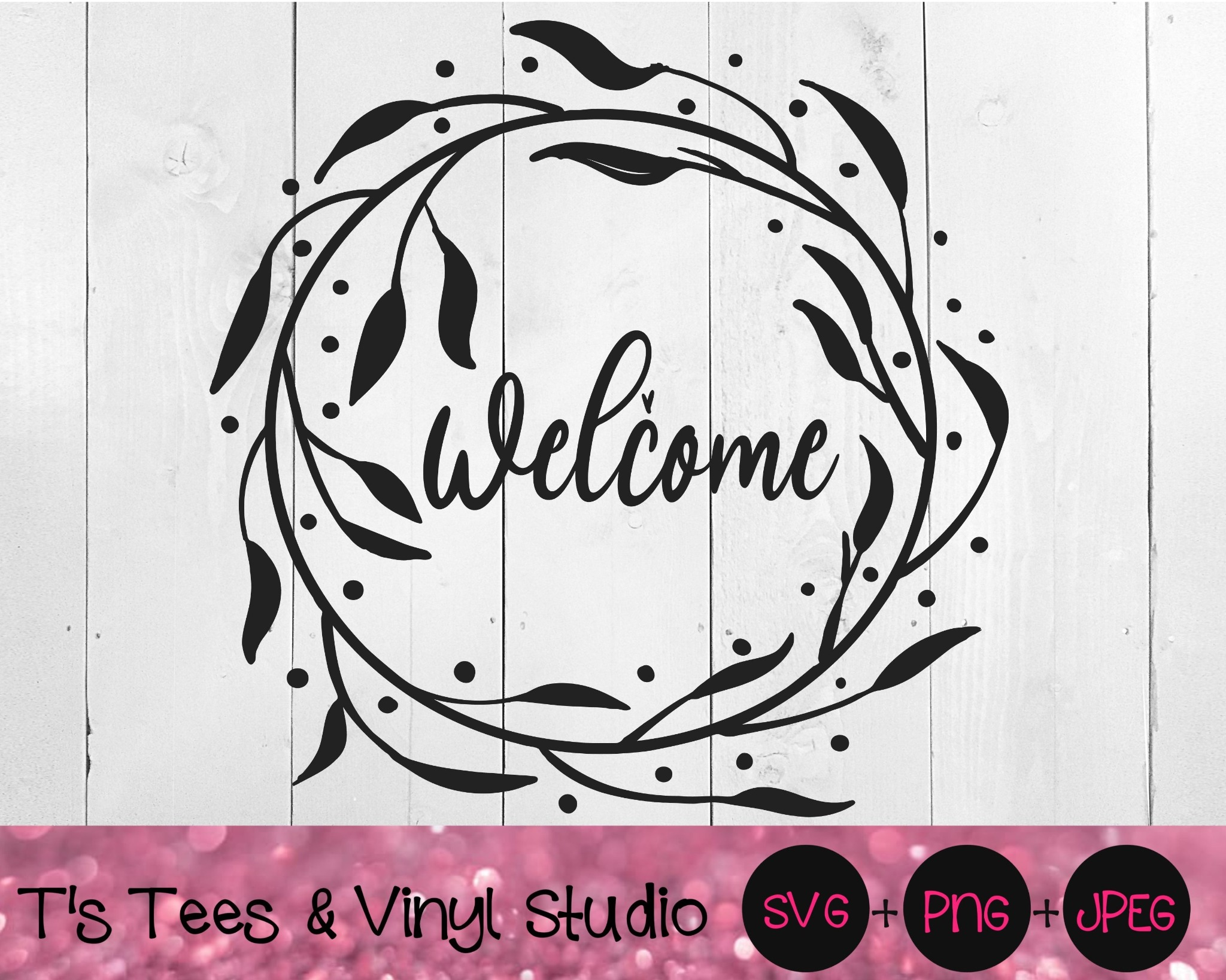Welcome Wreath Wvg, Welcome Svg, Wreath Svg, Leaves Svg, Company Svg, Guests Svg, Sign Svg, Welcome