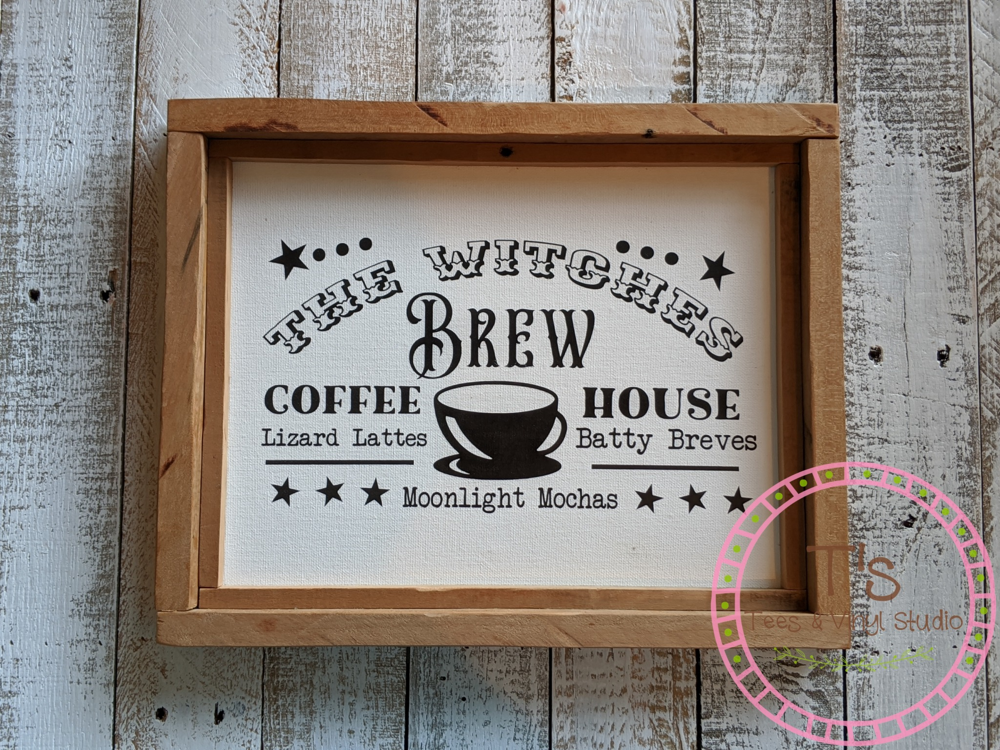 The Witches Brew Coffee House Framed Canvas Sign