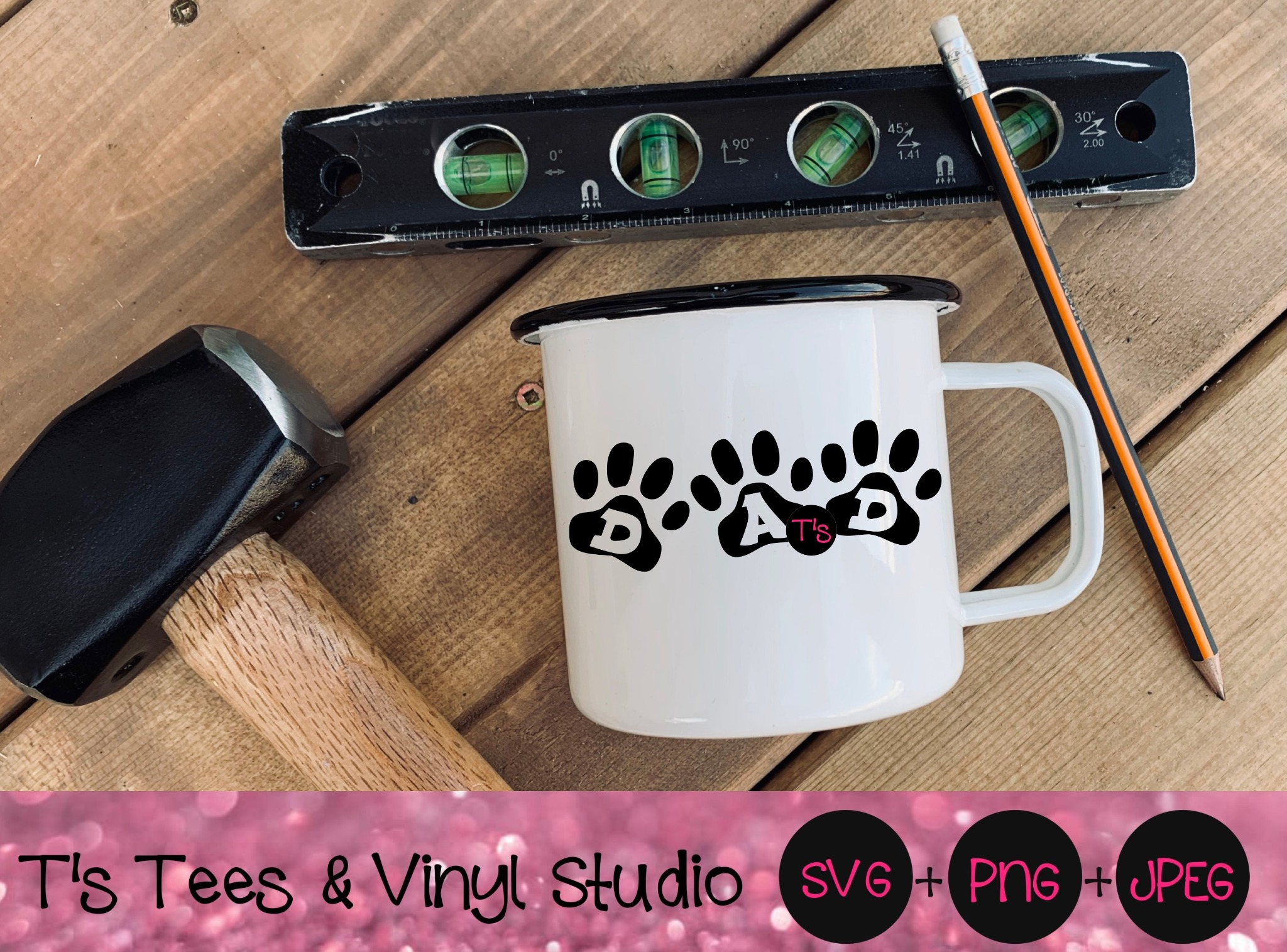 Dad Svg, Father's Day Svg, Paw Print Svg, Best Dad Ever Svg, Best Dad Svg, Furbaby Dad Svg, Furbaby
