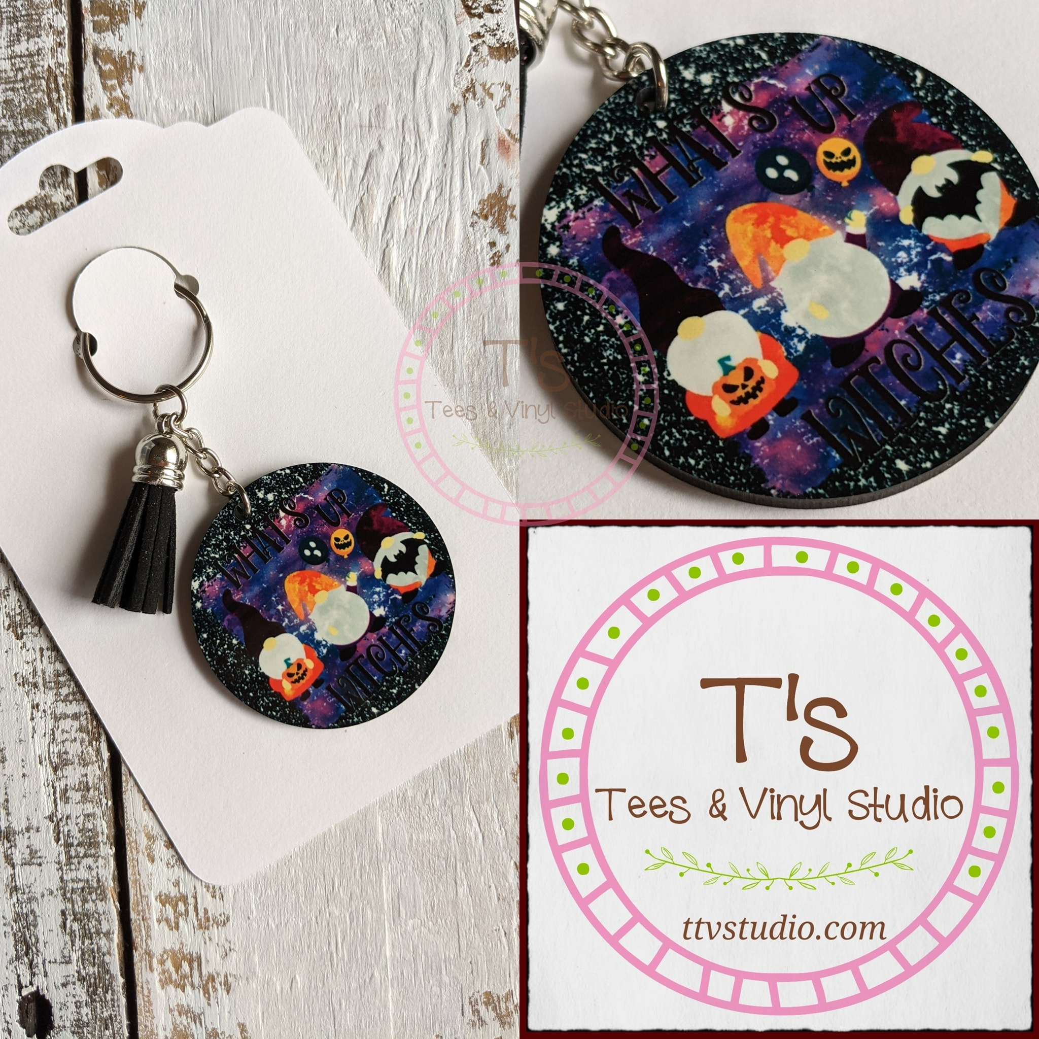 Halloween Keychain - Gnomes What's Up Witches