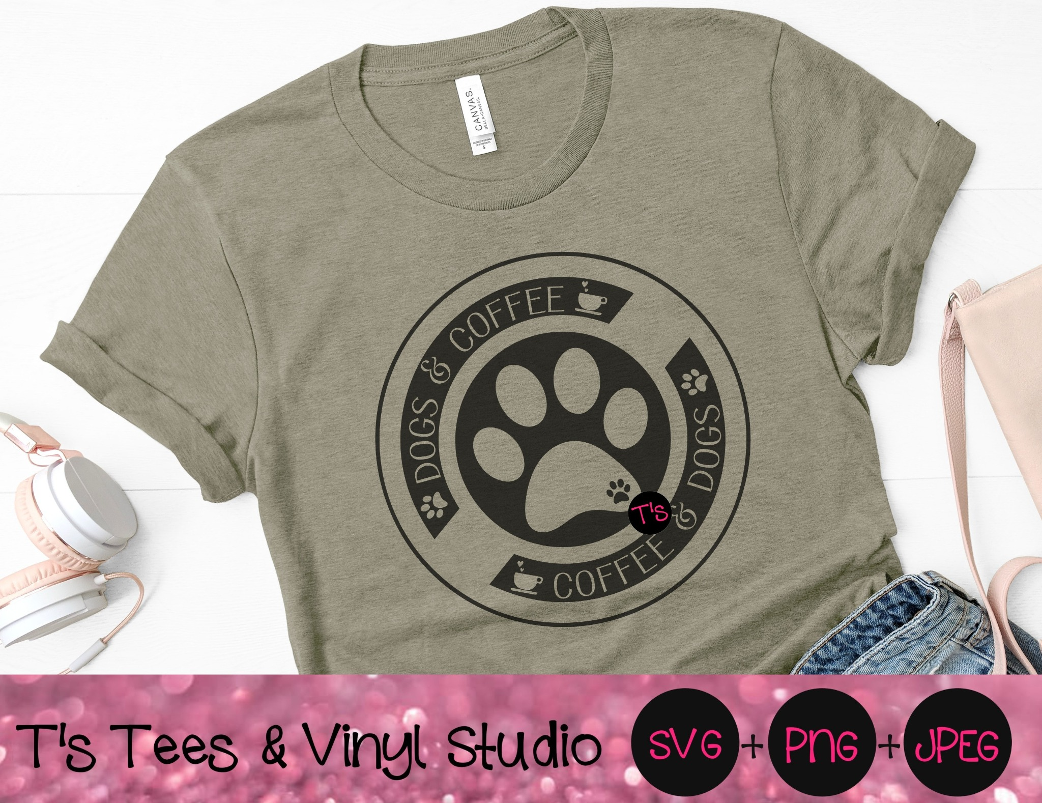 Dogs & Coffee Svg, Coffee Svg, Dogs Svg, Coffee and Dogs Are Life, Dogs And Coffee Circle, Paw Print