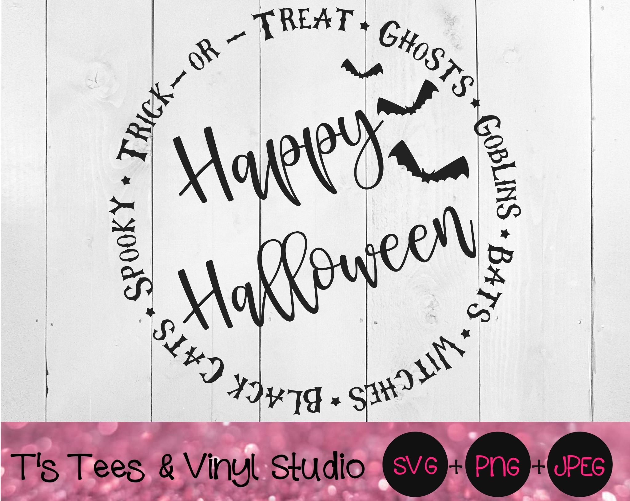 Happy Halloween Svg, Halloween Circle Svg, Witches Svg, Black Cats Svg, Ghosts, Goblins, Bats, Spook