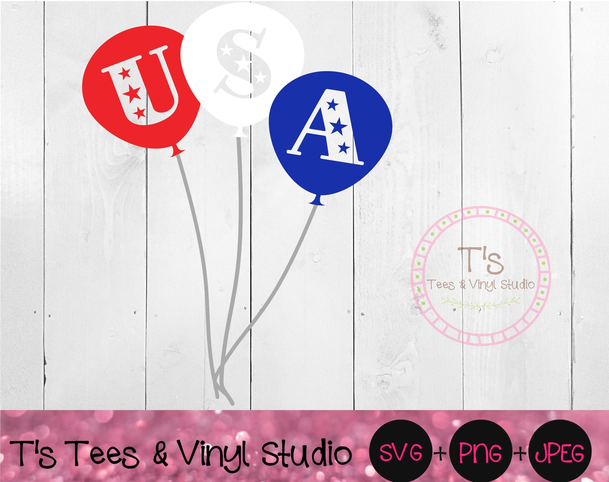USA Svg, America, Americana, Balloons, Red White and Blue, Independence Day, Stars, 4th Of July, Ame