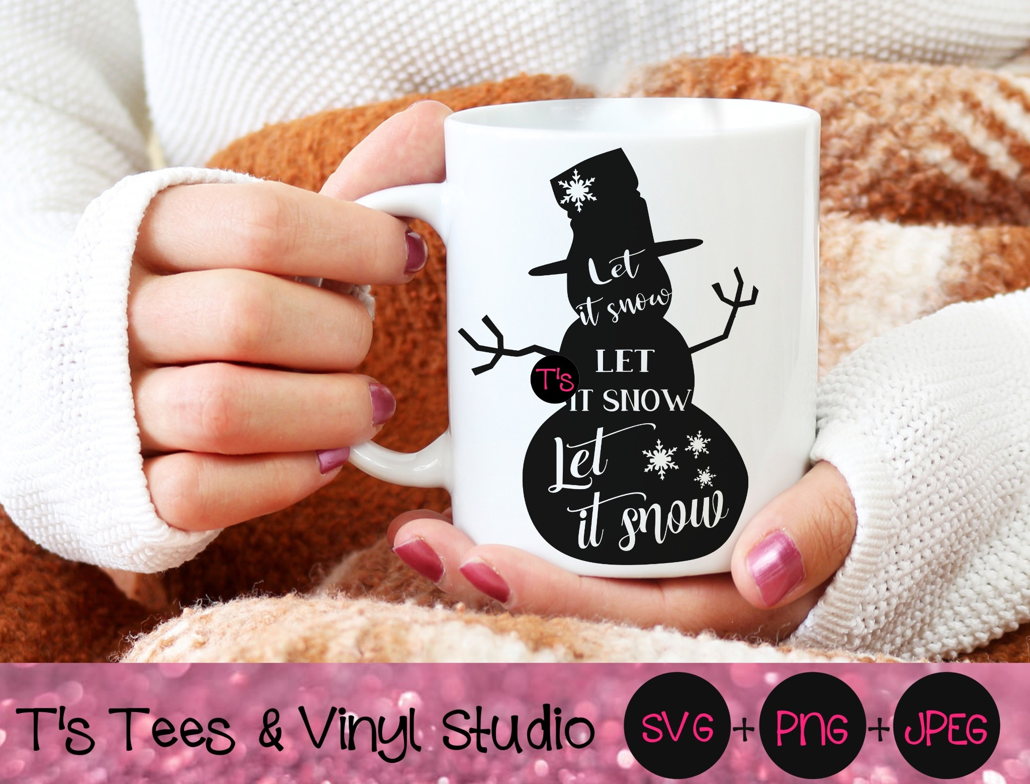 Let It Snow Svg, Snowman Svg, Snowflakes, Holiday Cheer, Christmas, Merry Christmas, Knockout Snowma