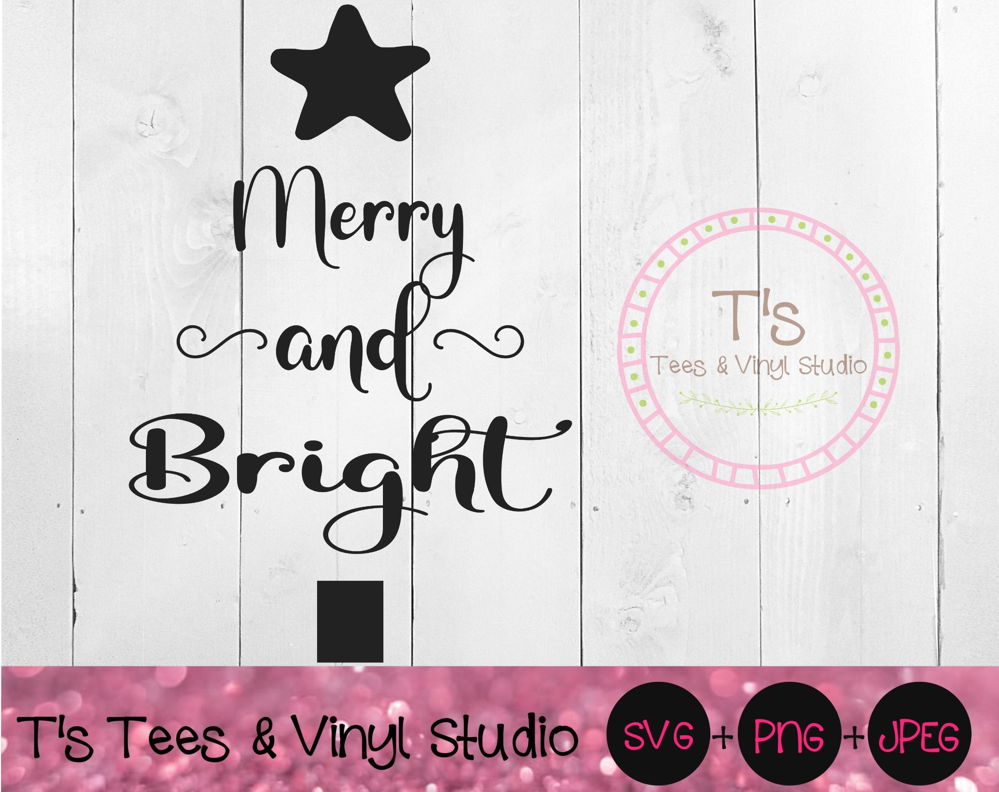 Merry And Bright Svg, Merry Christmas, Christmas Tree, Winter Blessings, Holiday Sign, Christmas Che