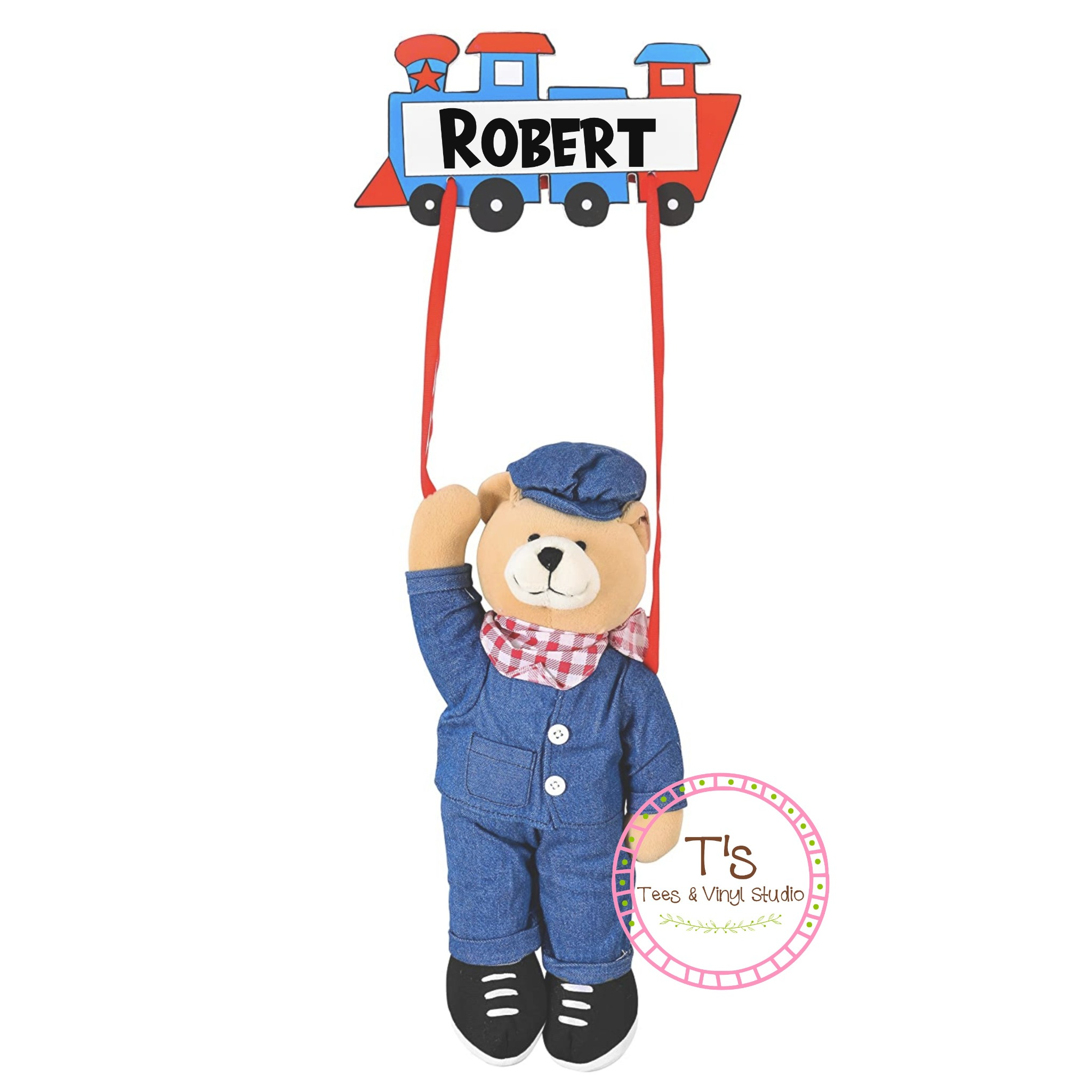 Personalized Bear Train Conductor Wall Hanging