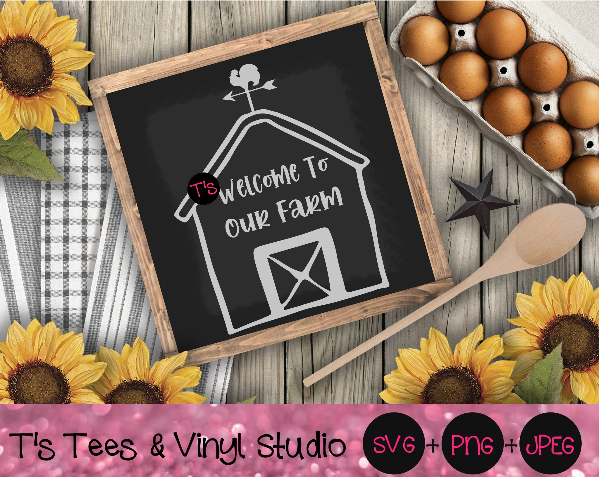 Welcome Svg, Farm Svg, Welcome To Our Farm Svg, Farm Life, Barn, Weather Vane, Wind Vane, Rooster Cr